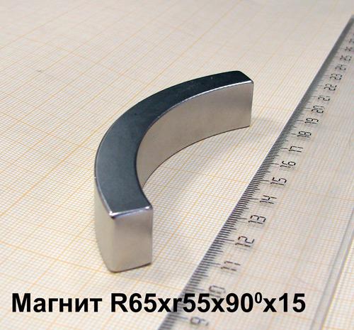 Магнит N33 R65xr55x90x15