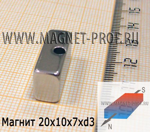 Магнит N33 20x10x7xd3мм.