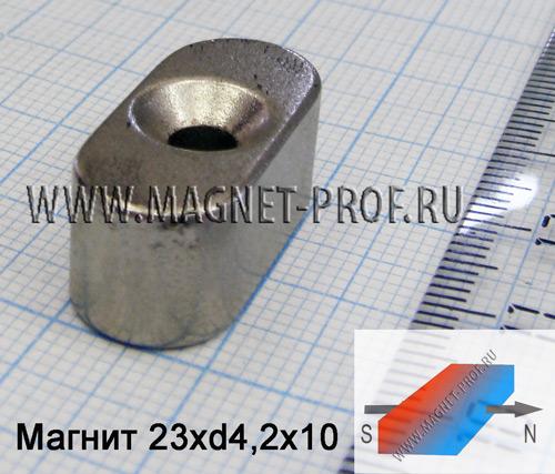 Магнит N33ЕН 23x10х11хd8,2/4,2мм.