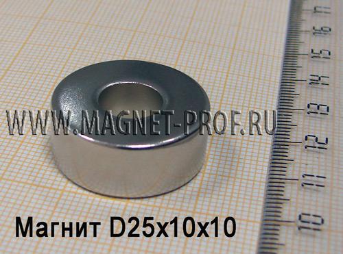 Неодимовый магнит D25xd10x10 мм., N35
