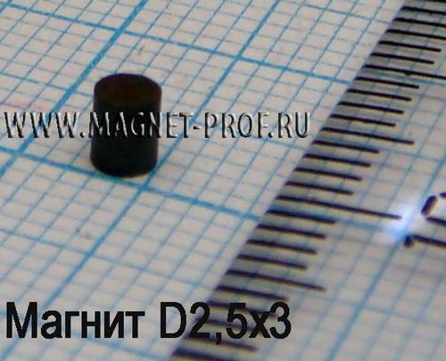 Ферритовый магнит Y30H-1 D2,5x3мм.