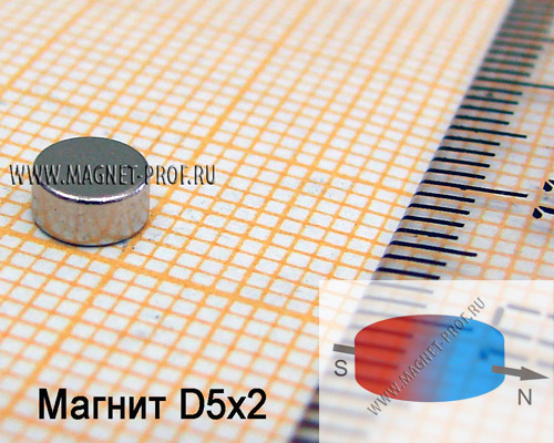 Неодимовый магнит диск D5x2 мм., N33 (диа)