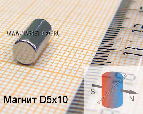 Неодимовый магнит диск D5x10 мм., N35 (диа)