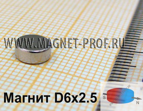 Неодимовый магнит диск D6x2.5 мм., N35 (диа)