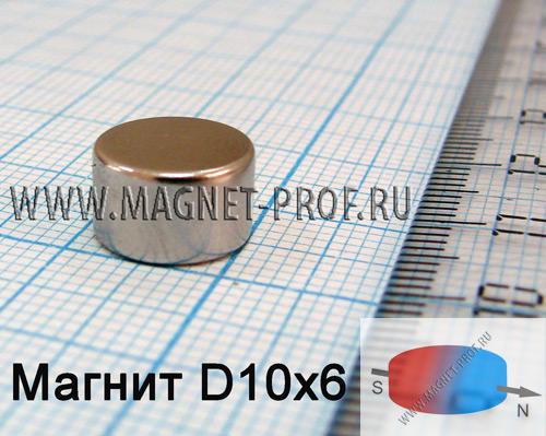 Неодимовый магнит диск D10x6 мм, N33(диа)