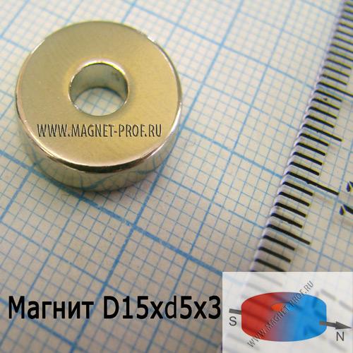 Неодимовый магнит кольцо D15xd5x3 , N33(диа)
