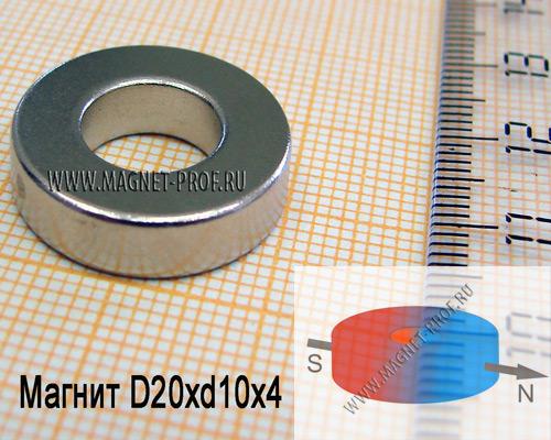 Неодимовый магнит D20xd10x4 N33 (диа)