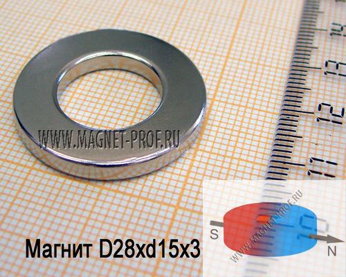 Неодимовый магнит D28xd15x3 , N33(диа)