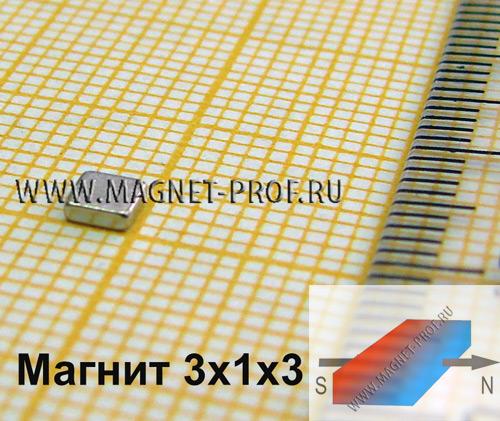 Неодимовый магнит пластина 3x1x3 мм., N33