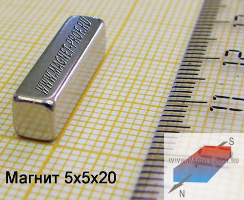 Неодимовый магнит пластина 5x5x20 мм., N33