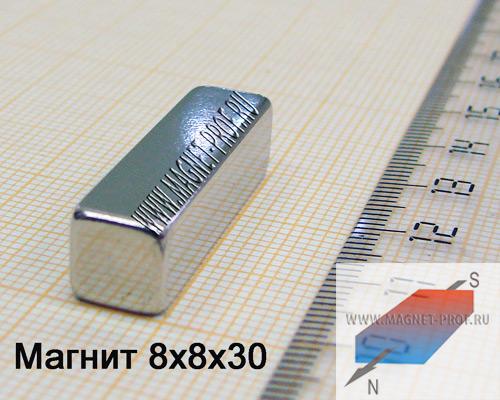 Неодимовый магнит пластина 8x8x30 мм., N33