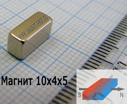 Неодимовый магнит пластина 10x4x5 мм., N33