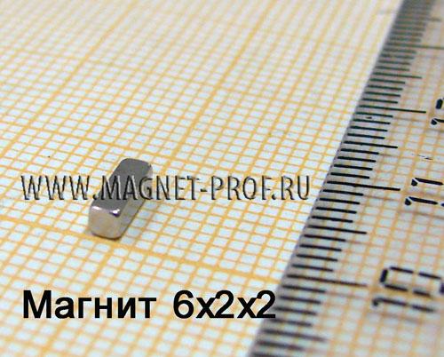 Неодимовый магнит пластина 6x2x2 мм., N33