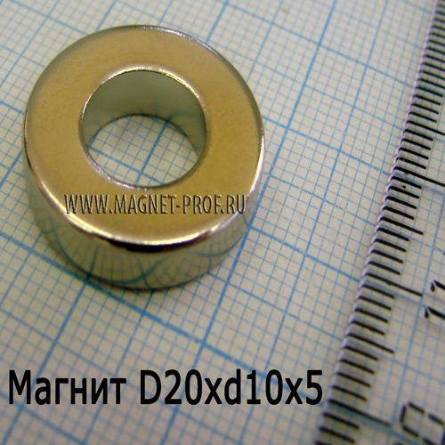 Неодимовый магнит D20xd10x5 мм., N35