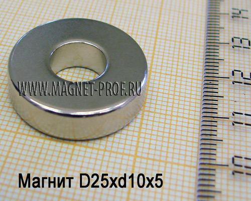 Неодимовый магнит D25xd10x5 мм., N33