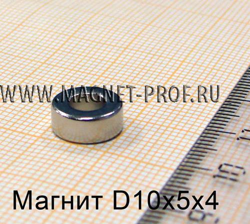 Неодимовый магнит кольцо D10xd5x4 мм., N35