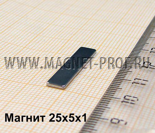 Неодимовый магнит пластина 25x5x1 мм., N33