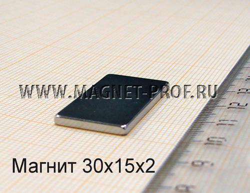 Неодимовый магнит пластина 30x15x2 мм., N33