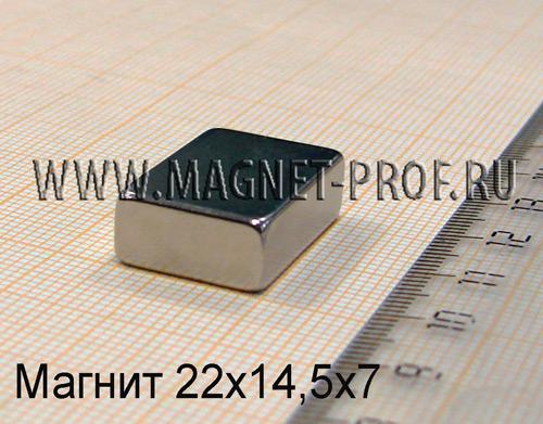 Неодимовый магнит пластина 22x14,5x7 мм., N33
