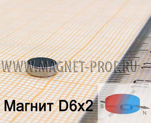 Неодимовый магнит диск D6x2 мм., N48H (диа)