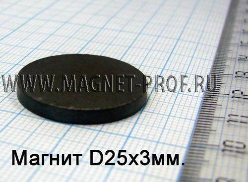 Ферритовый магнит Y35 D25х3мм.