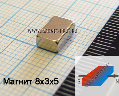 Неодимовый магнит пластина 8x3x5 мм., N38H