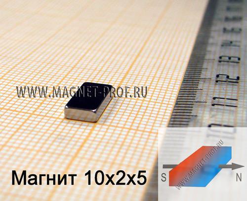 Неодимовый магнит пластина 10x2х5 мм., N38