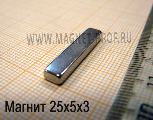 Неодимовый магнит пластина 25x5x3 мм., N52