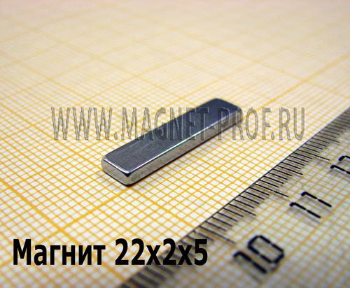 Неодимовый магнит пластина 22x2x5 мм., N52