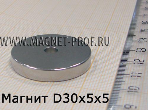 Неодимовый магнит D30xd5x5 мм., N33
