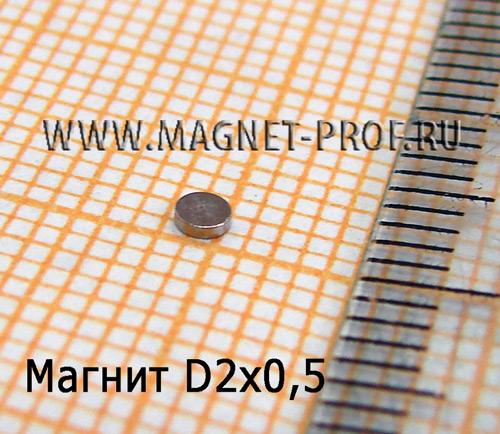 Неодимовый магнит диск D2x0,5 мм., N35