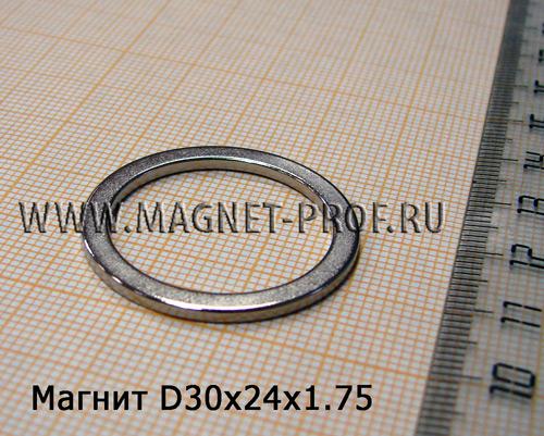 Неодимовый магнит D30xd24x1.75 мм., N35