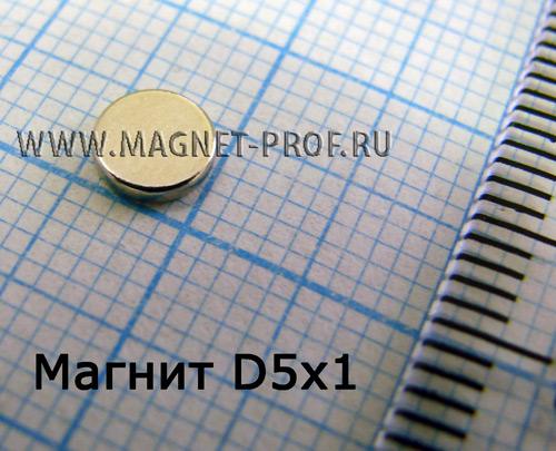 Неодимовый магнит диск D5x1 мм., N35