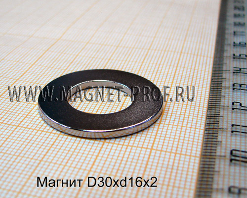 Неодимовый магнит D30xd16x2 мм., N35