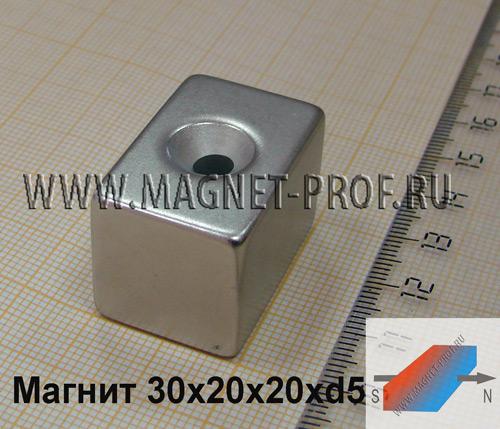 Магнит пластина с зенковкой 30x20x20xd5 мм. , N52