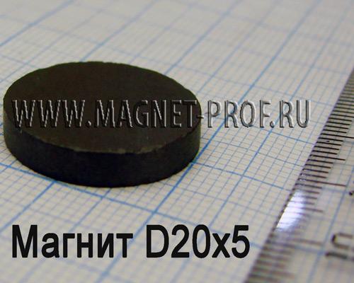 Ферритовый магнит Y30 D20x5мм.