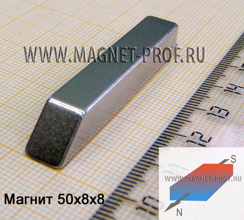 Неодимовый магнит N33 50x8x8х45