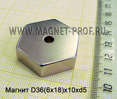 Неодимовый магнит N35 D36(6x18)x10xd5