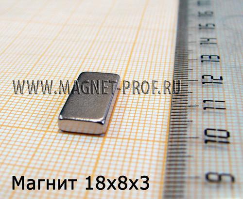 Неодимовый магнит пластина 18х8х3 мм., N42