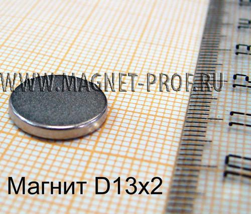 Неодимовый магнит диск 13х2мм, N35