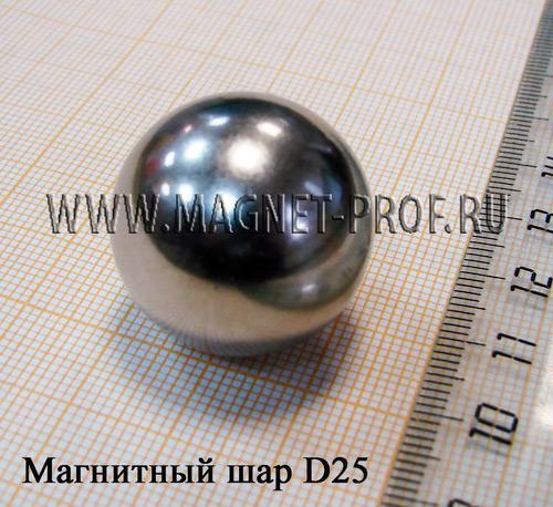 Магнитный шар D25мм., N35