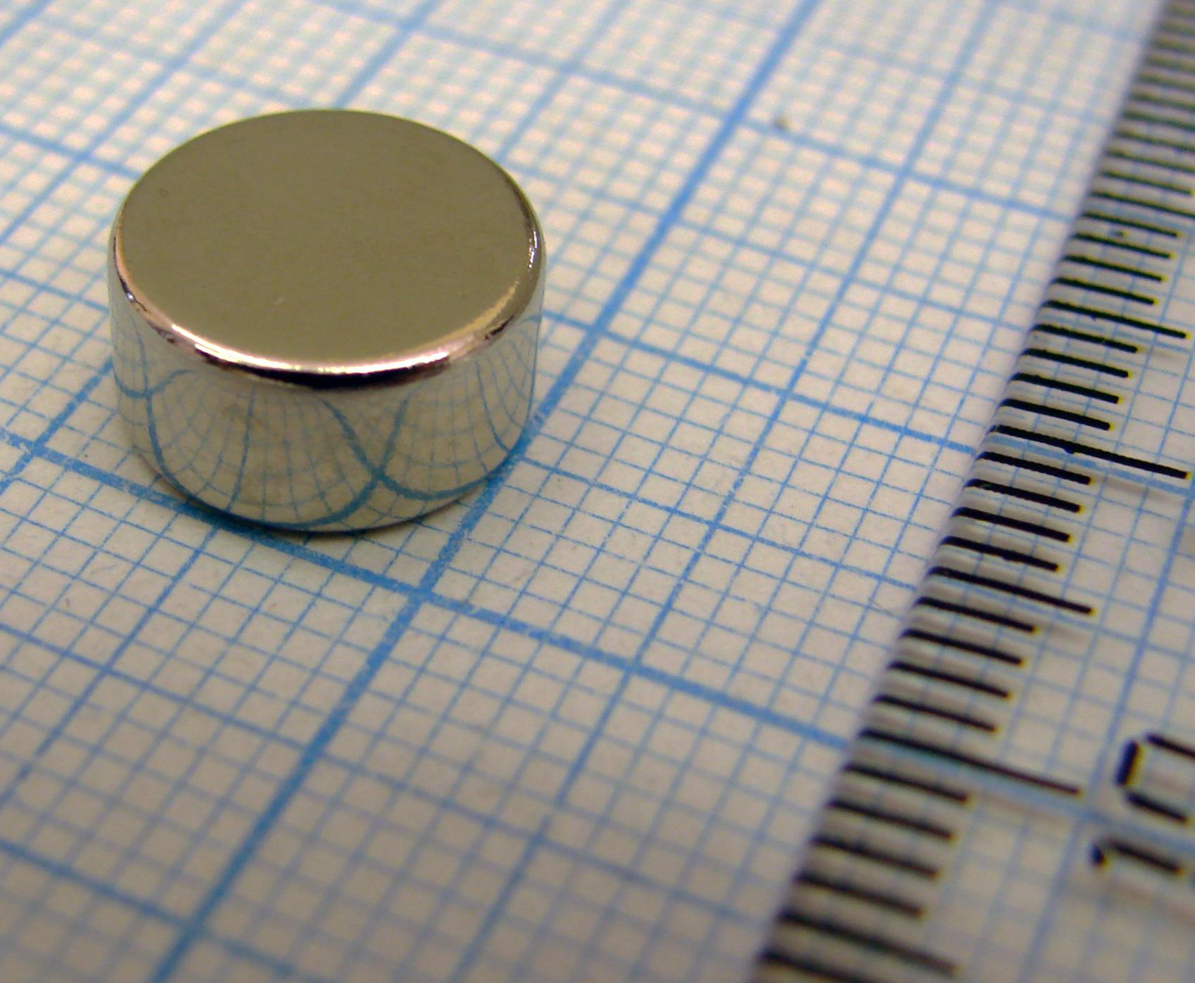 Неодимовый магнит диск  D10x5 мм., N52