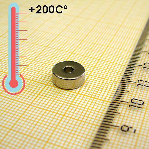 Неодимовый магнит кольцо D10xd3x4 мм., N33EH