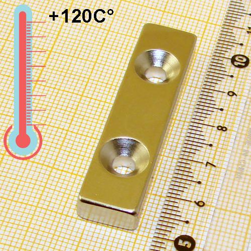 Неодимовый магнит пластина с зенковкой 50x12x6x2d9.4/4.5 мм.