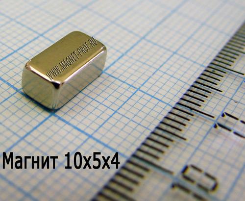 Неодимовый магнит пластина 10x5x4 мм, N35