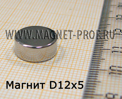 Неодимовый магнит диск D12x5 мм., N35